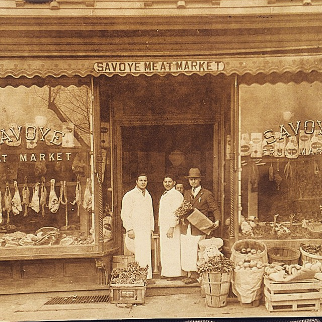 My grandpa Louis Napolitano (middle) in front of the Savoye Meat Market on Kennedy Blvd. in North Bergen, NJ sometime around 1930.
